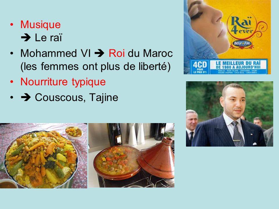 Musique Le raï Mohammed VI Roi du Maroc (les femmes ont plus de liberté) Nourriture typique Couscous, Tajine