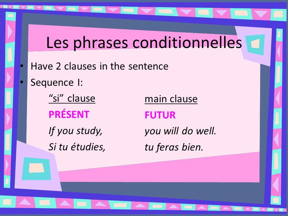 Les phrases conditionnelles Faites des phrases conditionnelles (toutes les 3 séquences) pour chaque numéro; employez le sujet je.