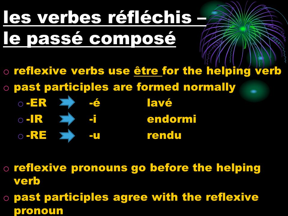 les verbes réfléchis – le passé composé o reflexive verbs use être for the helping verb o past participles are formed normally o -ER -élavé o -IR-iendormi o -RE-urendu o reflexive pronouns go before the helping verb o past participles agree with the reflexive pronoun