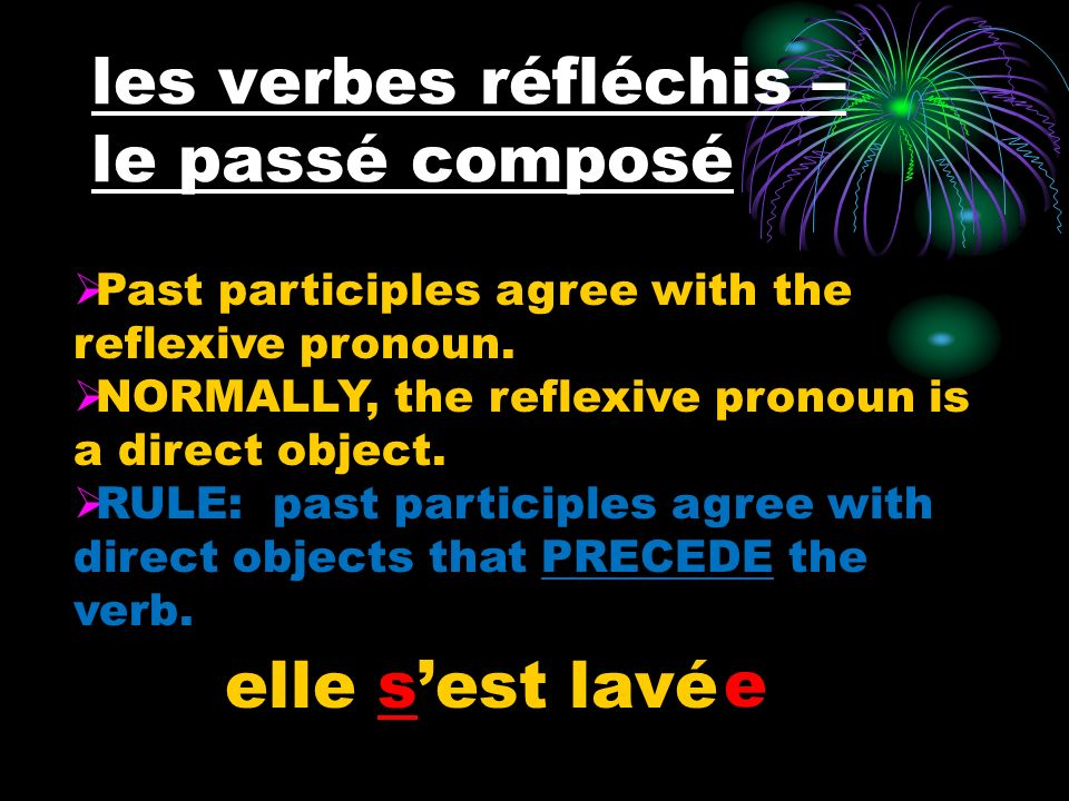 les verbes réfléchis – le passé composé elle sest lavé e Past participles agree with the reflexive pronoun. NORMALLY, the reflexive pronoun is a direc