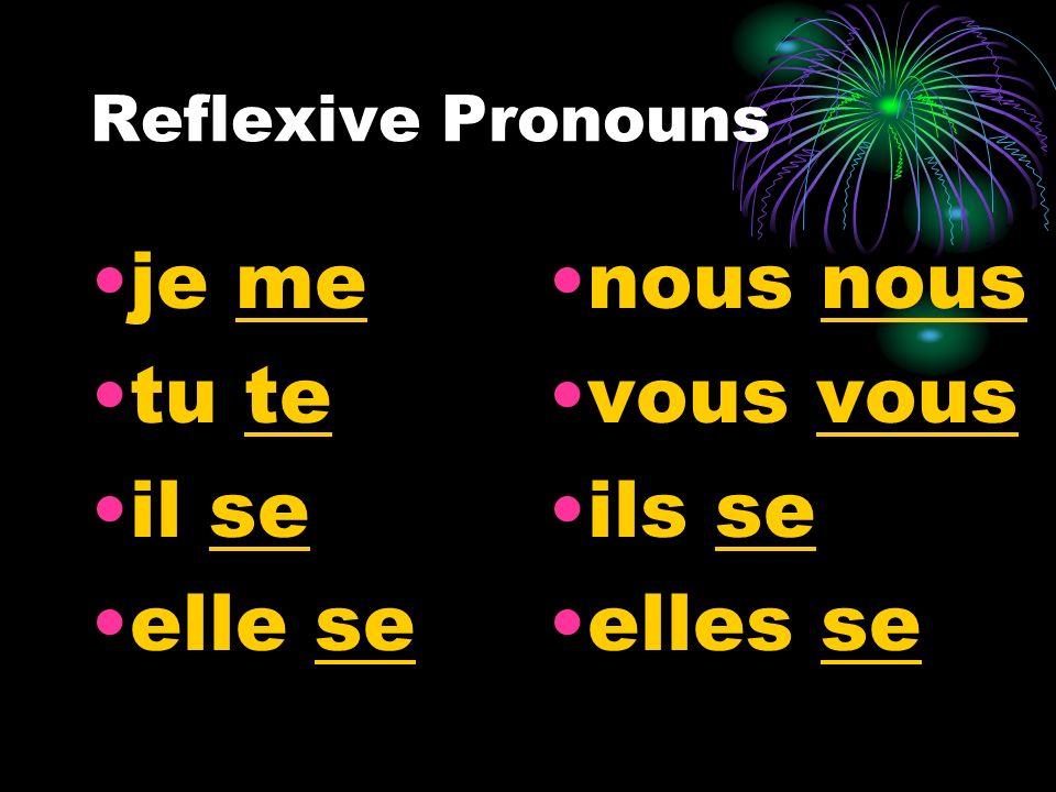 Reflexive Pronouns je me tu te il se elle se nous vous ils se elles se