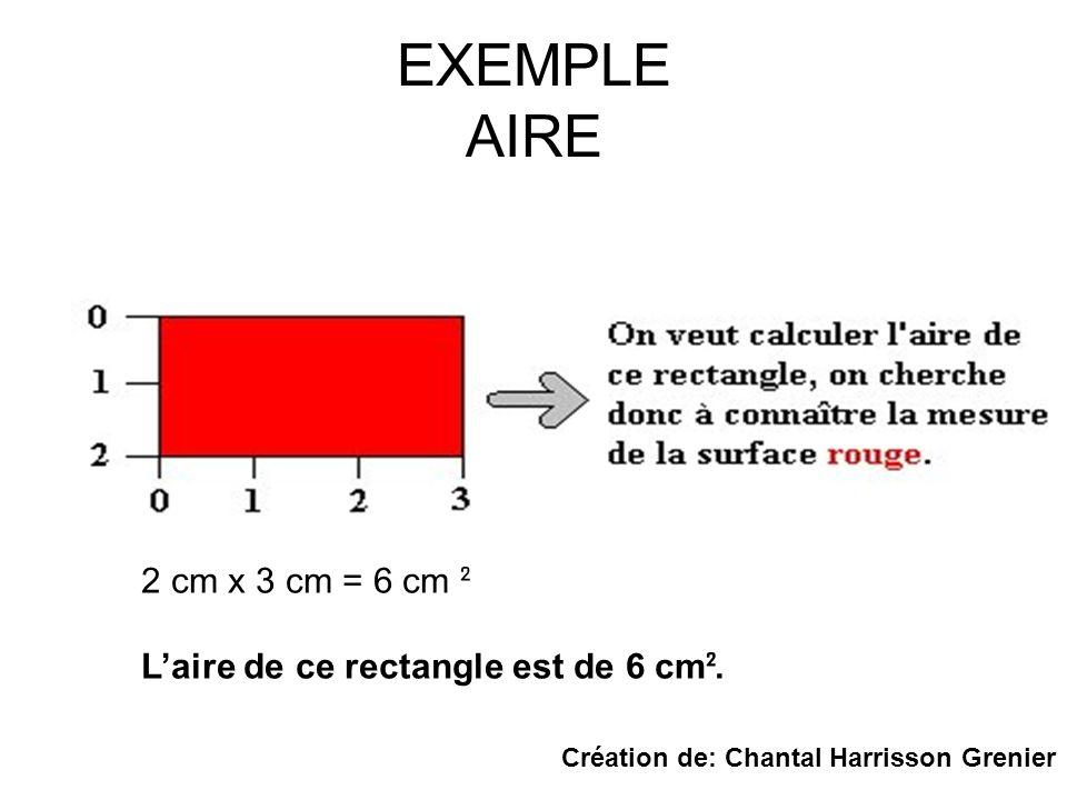 EXEMPLE AIRE 2 cm x 3 cm = 6 cm ² Laire de ce rectangle est de 6 cm ². Création de: Chantal Harrisson Grenier