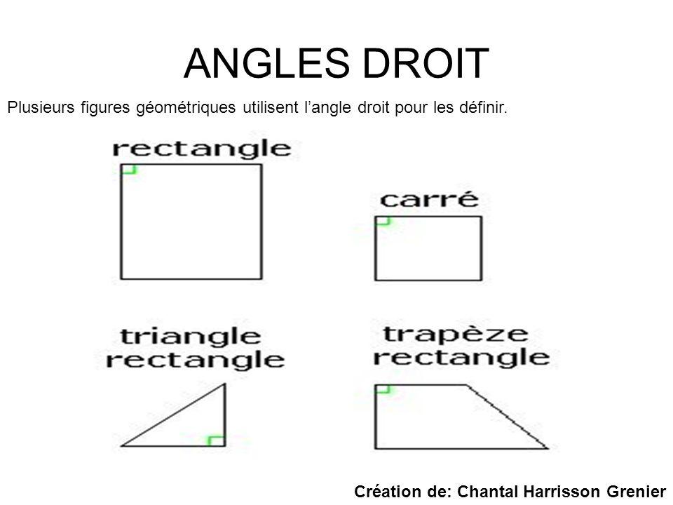 ANGLES DROIT Plusieurs figures géométriques utilisent langle droit pour les définir. Création de: Chantal Harrisson Grenier