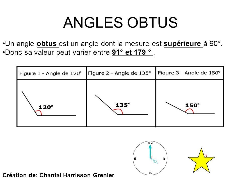 ANGLES OBTUS Un angle obtus est un angle dont la mesure est supérieure à 90°. Donc sa valeur peut varier entre 91° et 179 °. Création de: Chantal Harr