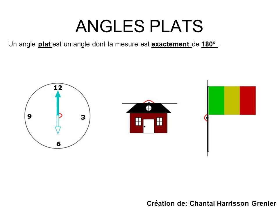 ANGLES PLATS Un angle plat est un angle dont la mesure est exactement de 180°. Création de: Chantal Harrisson Grenier