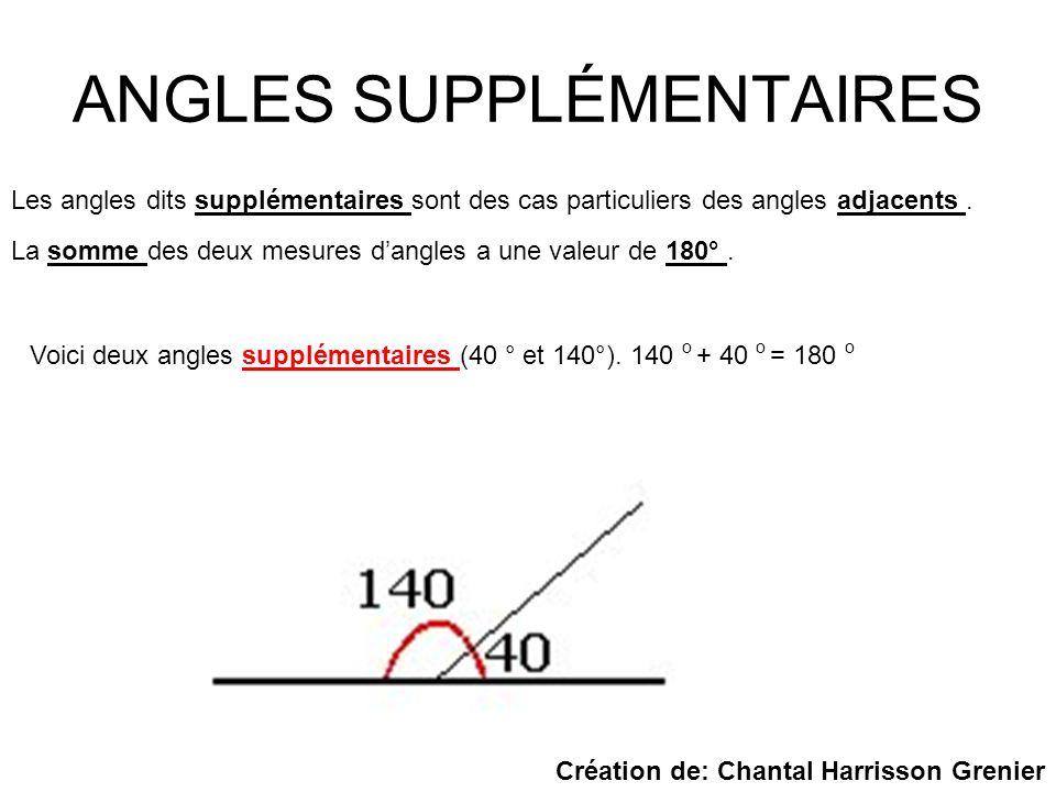 ANGLES SUPPLÉMENTAIRES Les angles dits supplémentaires sont des cas particuliers des angles adjacents. La somme des deux mesures dangles a une valeur