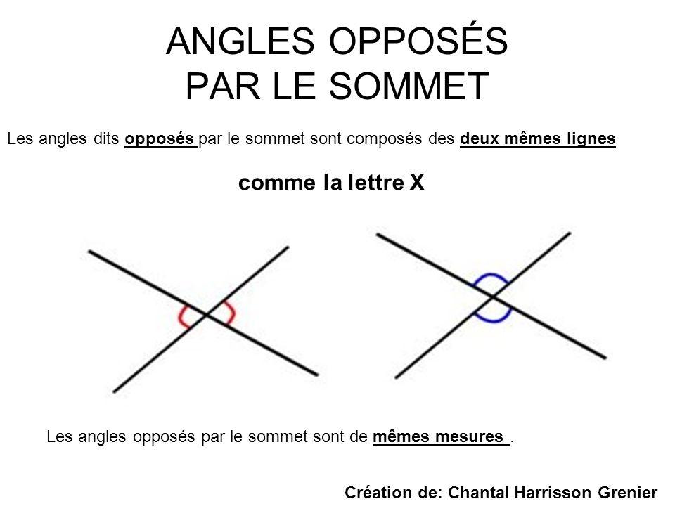 ANGLES OPPOSÉS PAR LE SOMMET Les angles dits opposés par le sommet sont composés des deux mêmes lignes comme la lettre X Les angles opposés par le som