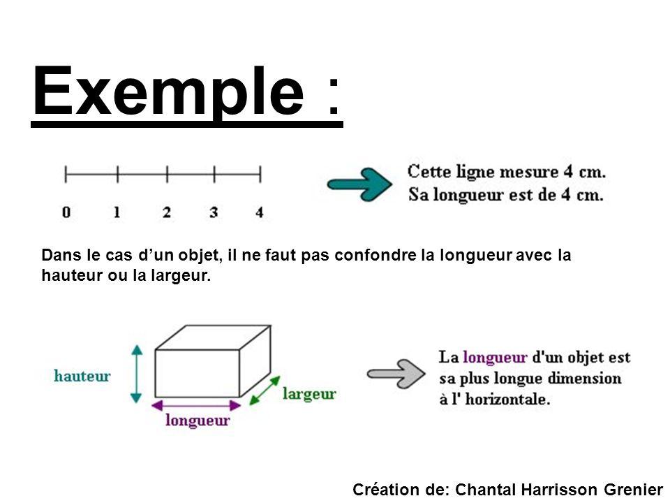 Dans le cas dun objet, il ne faut pas confondre la longueur avec la hauteur ou la largeur. Exemple : Création de: Chantal Harrisson Grenier