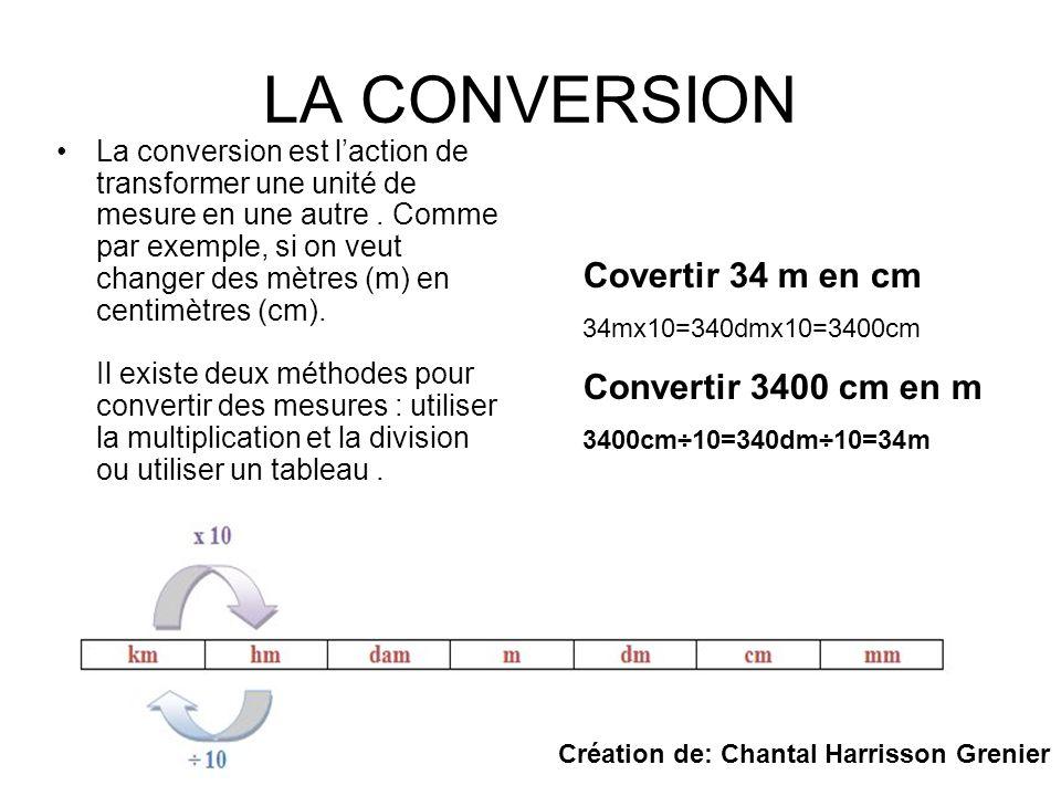 LA CONVERSION La conversion est laction de transformer une unité de mesure en une autre. Comme par exemple, si on veut changer des mètres (m) en centi