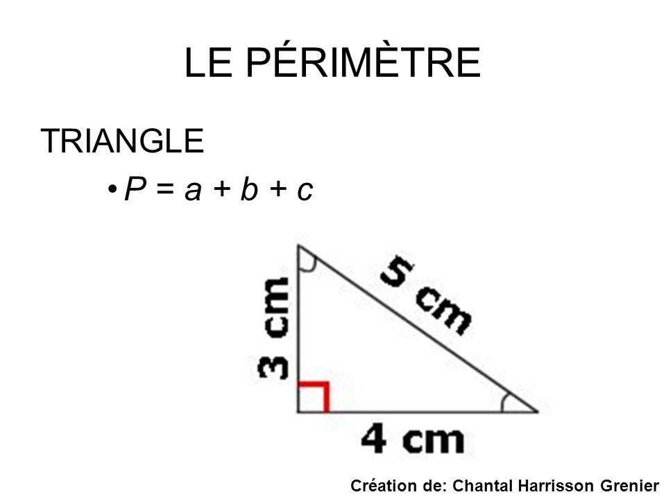 LE PÉRIMÈTRE TRIANGLE P = a + b + c Création de: Chantal Harrisson Grenier