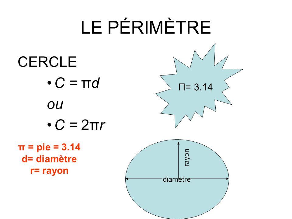LE PÉRIMÈTRE CERCLE C = πd ou C = 2πr Π= 3.14 diamètre π = pie = 3.14 d= diamètre r= rayon rayon