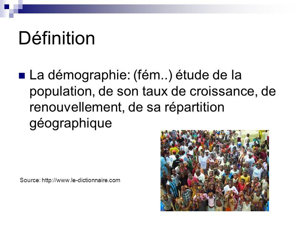 Exercice #4 Calcule l émmigration nette au Canada en 2012: (Nombre d émmigrants ÷ population x 1000 = immigration nette/1000) Population du Canada: 34,880,500 Nombre d émmigrants: 69,480