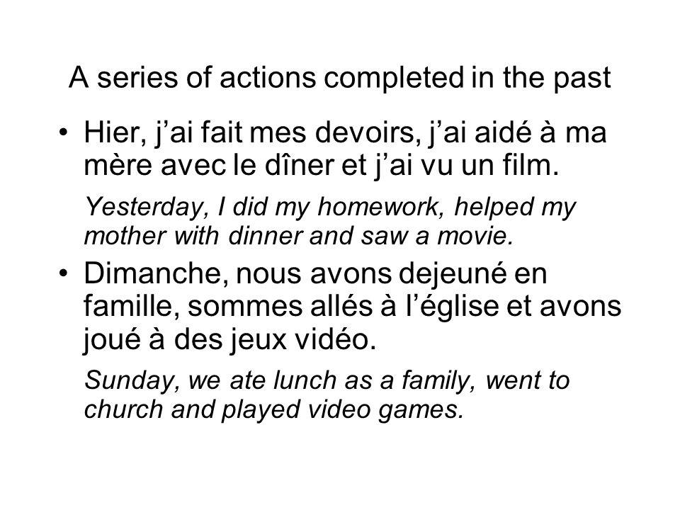 Translations of the passé composé Mme.Chajon a vu (VOIR) un film.