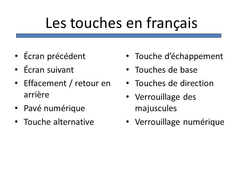 Les touches en français Écran précédent Écran suivant Effacement / retour en arrière Pavé numérique Touche alternative Touche déchappement Touches de
