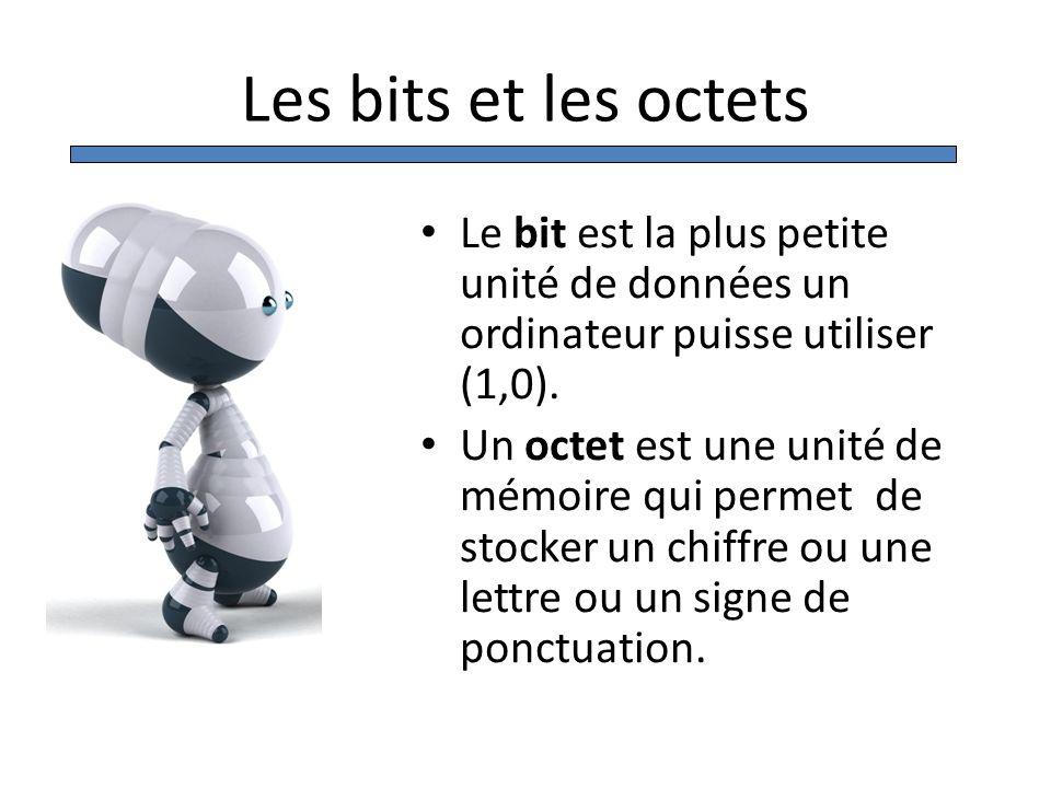 Les bits et les octets Le bit est la plus petite unité de données un ordinateur puisse utiliser (1,0). Un octet est une unité de mémoire qui permet de