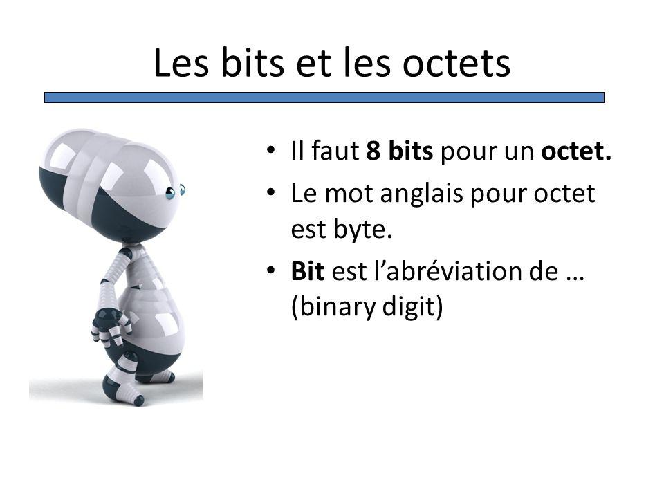 Les bits et les octets Il faut 8 bits pour un octet. Le mot anglais pour octet est byte. Bit est labréviation de … (binary digit)