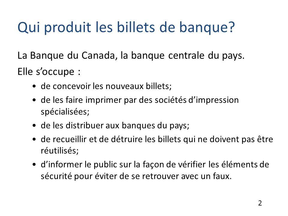 Qui produit les billets de banque.La Banque du Canada, la banque centrale du pays.
