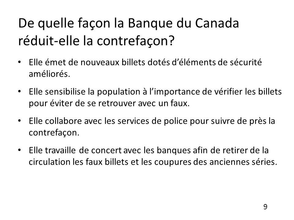 De quelle façon la Banque du Canada réduit-elle la contrefaçon.