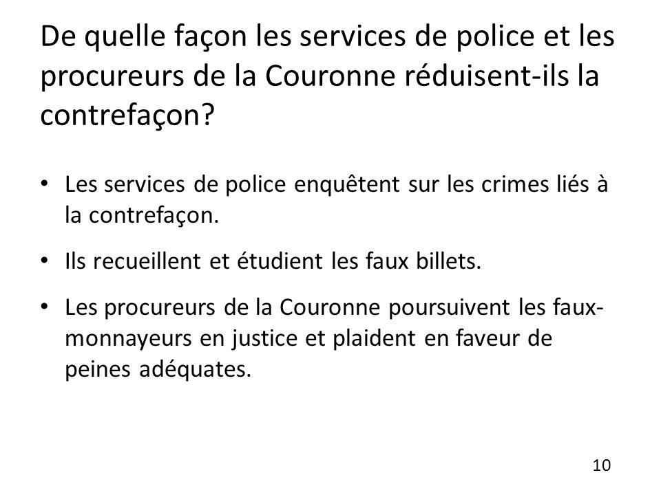 De quelle façon les services de police et les procureurs de la Couronne réduisent-ils la contrefaçon.