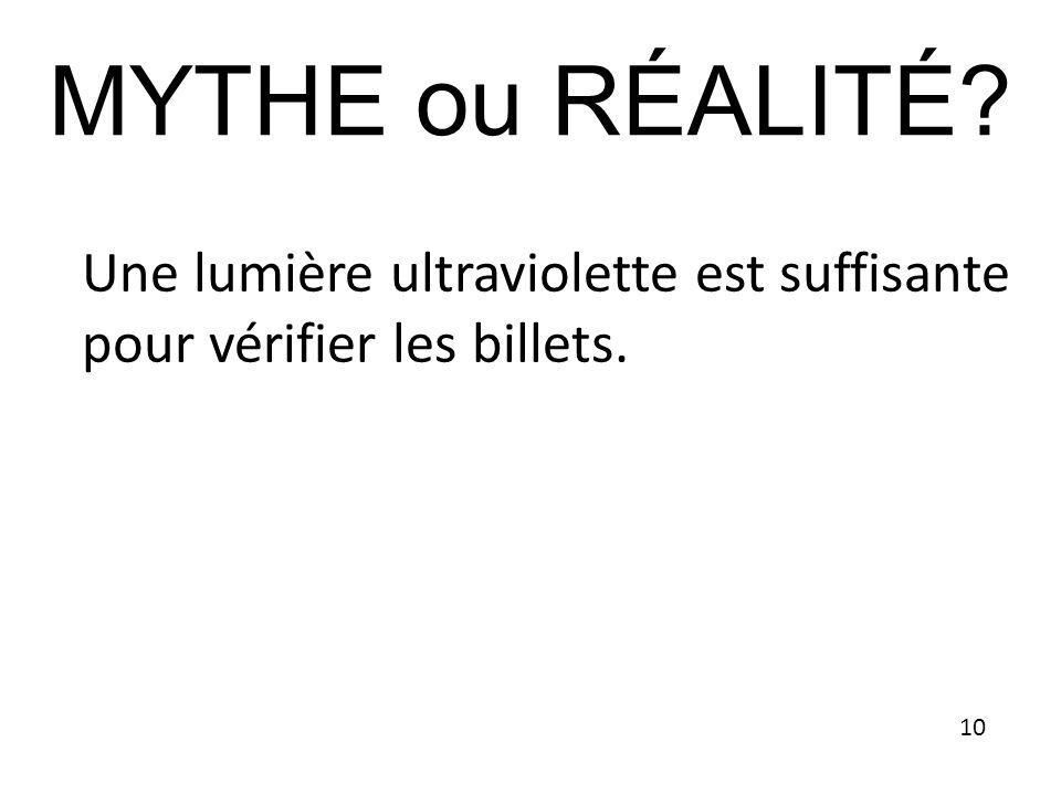 Une lumière ultraviolette est suffisante pour vérifier les billets. MYTHE ou RÉALITÉ? 10