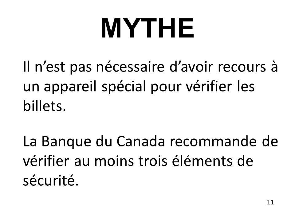 MYTHE Il nest pas nécessaire davoir recours à un appareil spécial pour vérifier les billets.