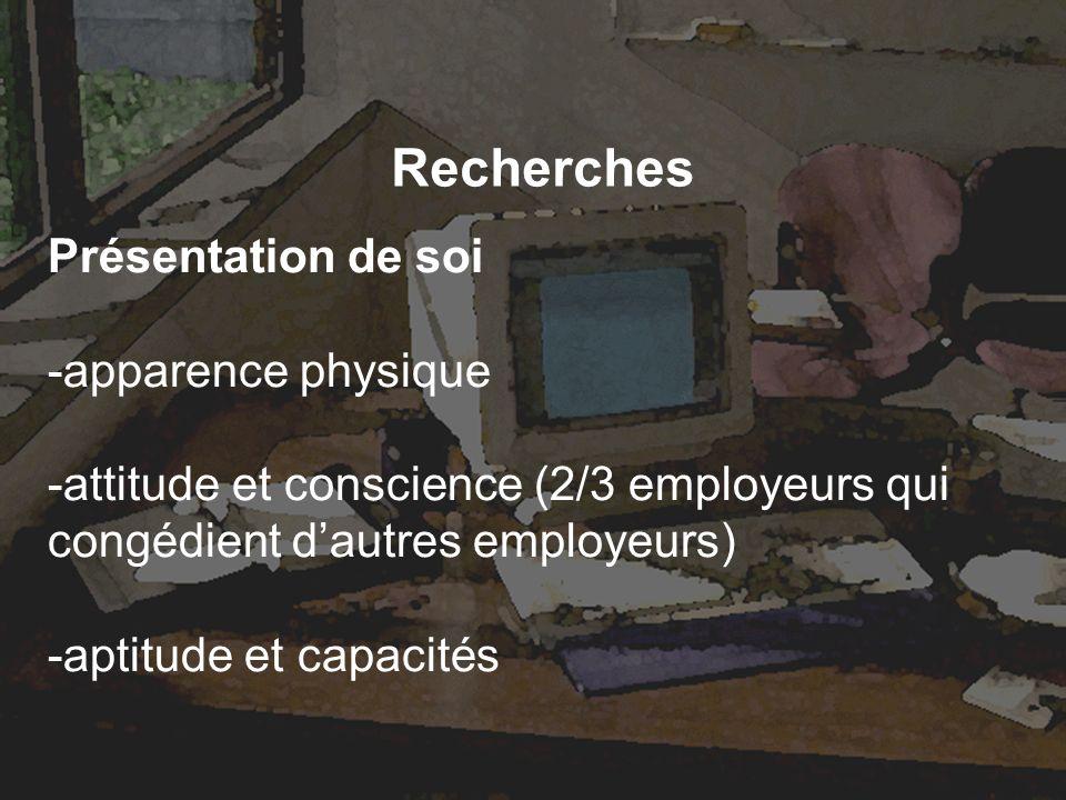 Recherches Présentation de soi -apparence physique -attitude et conscience (2/3 employeurs qui congédient dautres employeurs) -aptitude et capacités