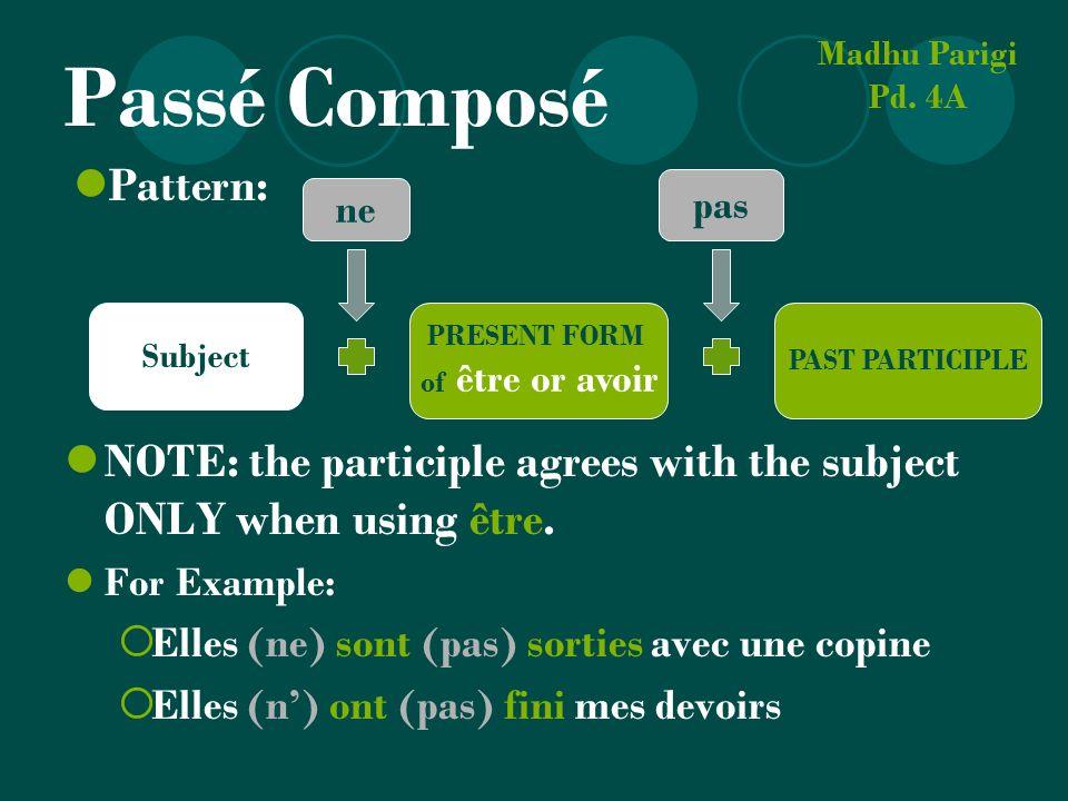 Passé Composé NOTE: the participle agrees with the subject ONLY when using être. For Example: Elles (ne) sont (pas) sorties avec une copine Elles (n)