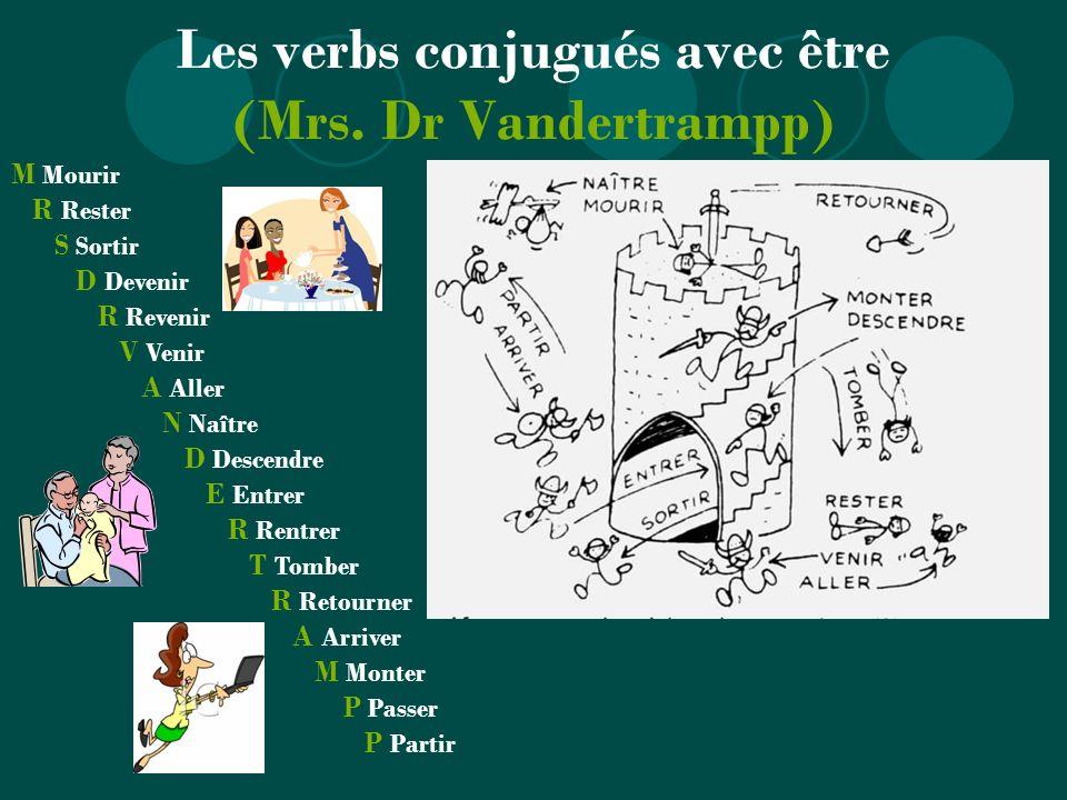 Les verbs conjugués avec être (Mrs. Dr Vandertrampp) M Mourir R Rester S Sortir D Devenir R Revenir V Venir A Aller N Naître D Descendre E Entrer R Re