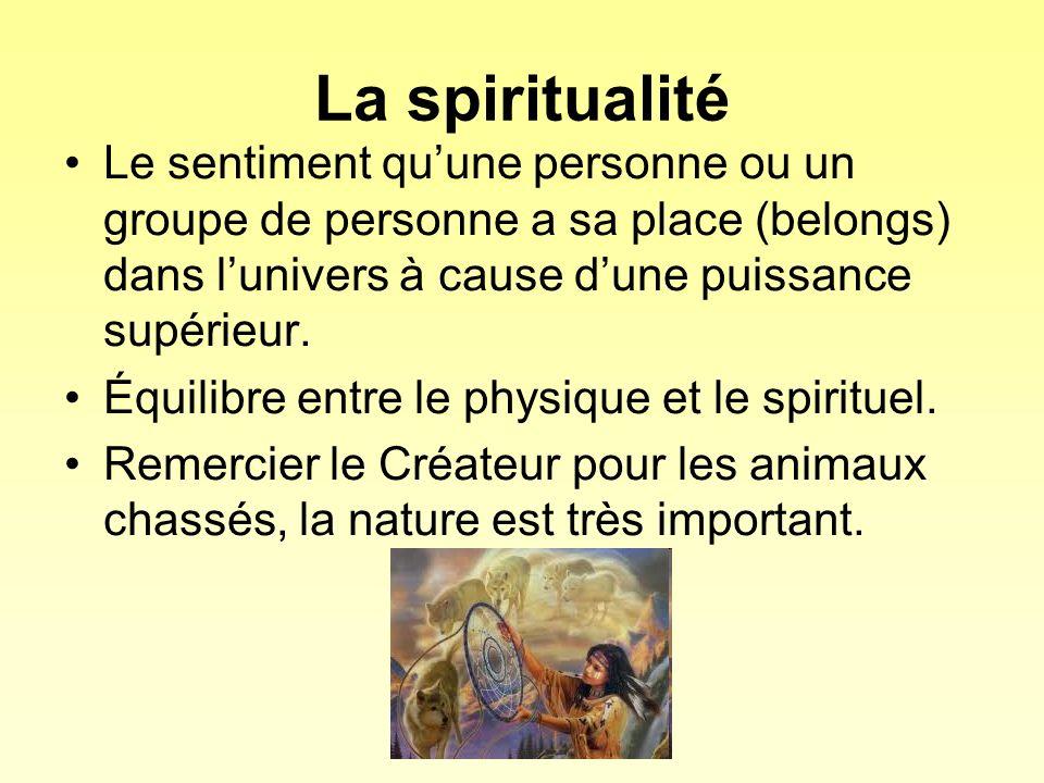 La spiritualité Le sentiment quune personne ou un groupe de personne a sa place (belongs) dans lunivers à cause dune puissance supérieur. Équilibre en