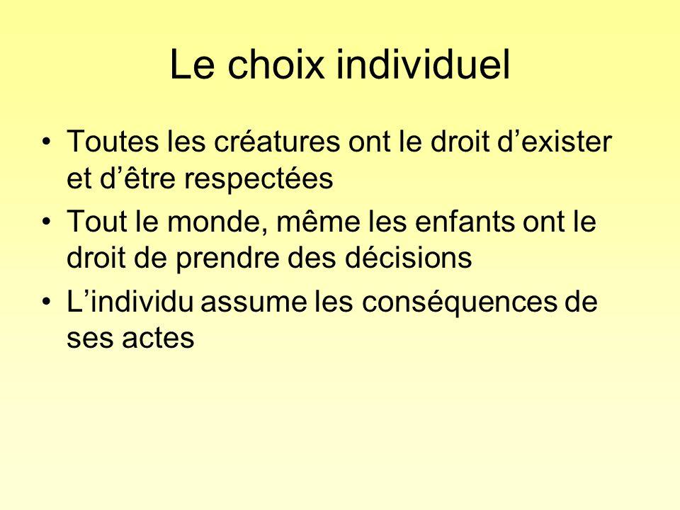 Le choix individuel Toutes les créatures ont le droit dexister et dêtre respectées Tout le monde, même les enfants ont le droit de prendre des décisio