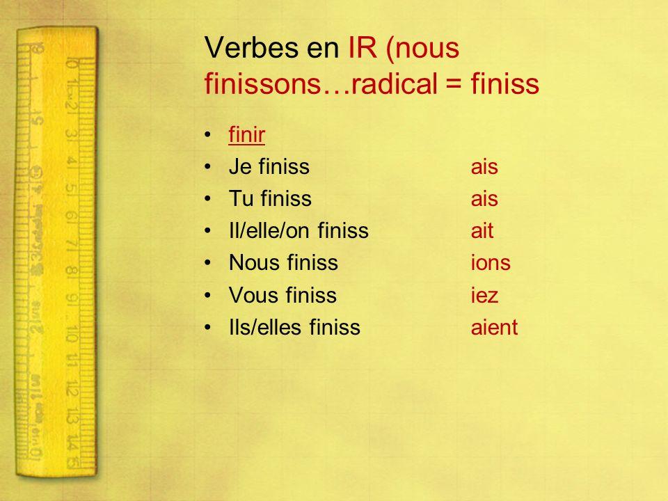 ATTENTION… Les verbes en cer et ger subissent des changements avec les terminaisons ais, ait, aient.