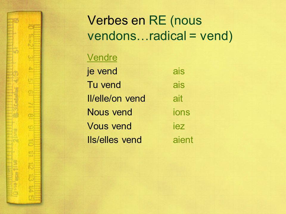 Verbes en RE (nous vendons…radical = vend) Vendre je vendais Tu vendais Il/elle/on vendait Nous vendions Vous vendiez Ils/elles vendaient
