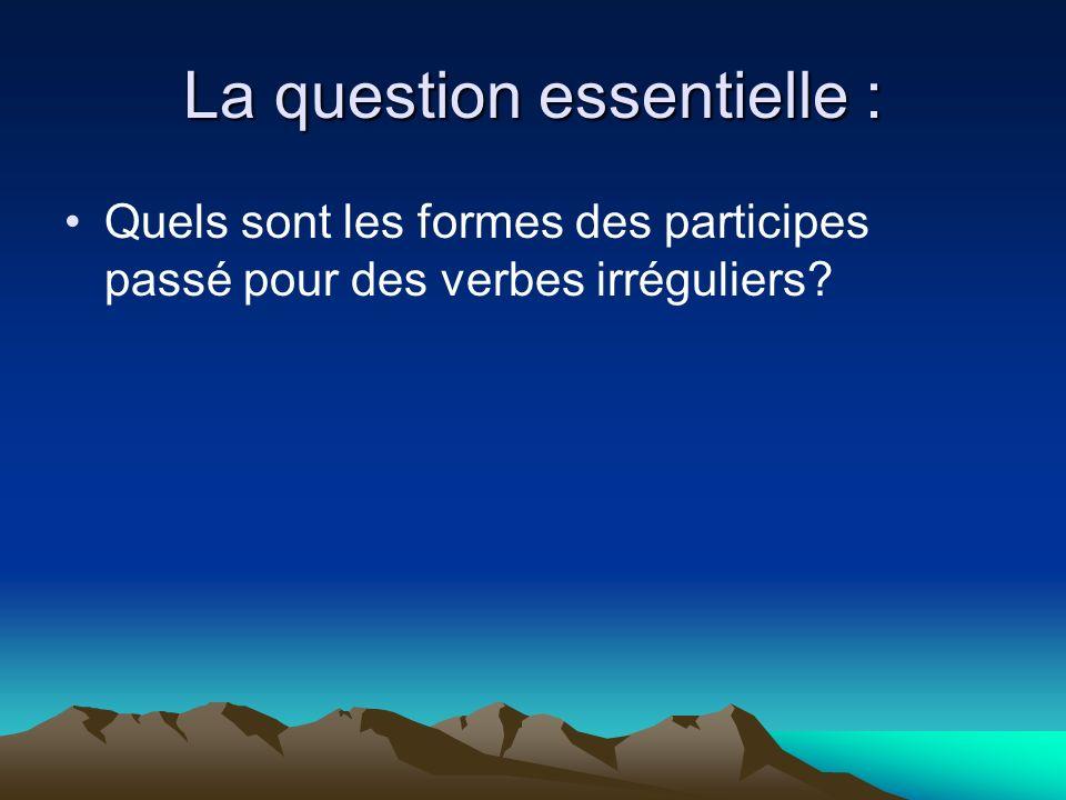 La question essentielle : Quels sont les formes des participes passé pour des verbes irréguliers?