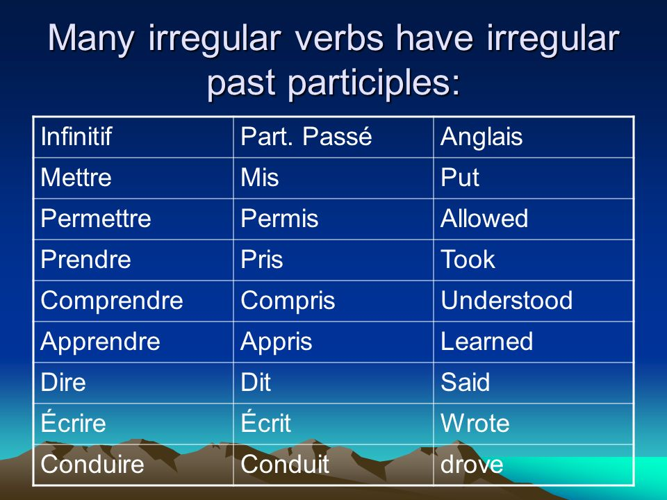 Many irregular verbs have irregular past participles: InfinitifPart.