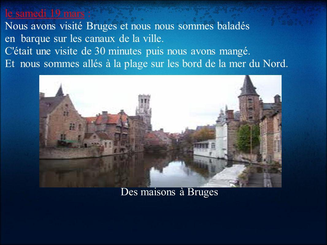 le samedi 19 mars : Nous avons visité Bruges et nous nous sommes baladés en barque sur les canaux de la ville. C'était une visite de 30 minutes puis n