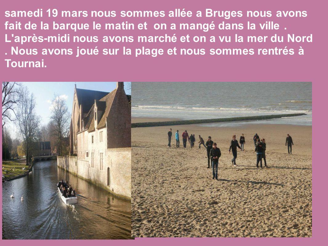 samedi 19 mars nous sommes allée a Bruges nous avons fait de la barque le matin et on a mangé dans la ville. L'après-midi nous avons marché et on a vu