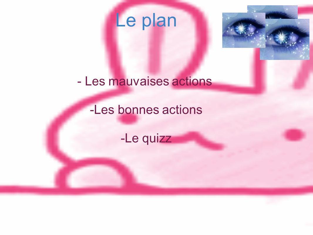 Le plan - Les mauvaises actions -Les bonnes actions -Le quizz
