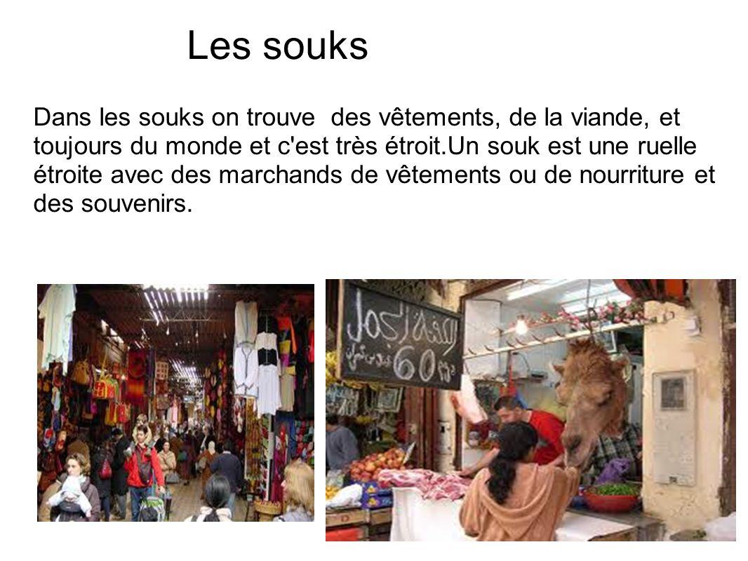 Les souks Dans les souks on trouve des vêtements, de la viande, et toujours du monde et c'est très étroit.Un souk est une ruelle étroite avec des marc