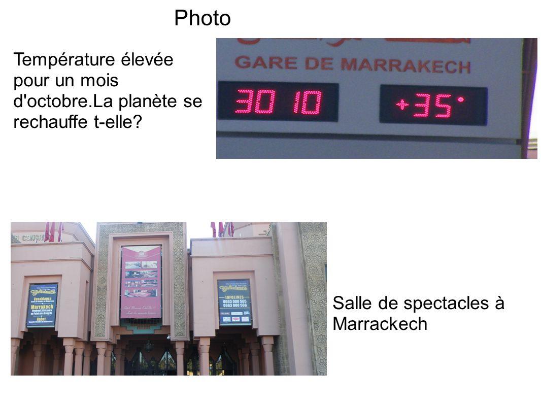 Photo Salle de spectacles à Marrackech Température élevée pour un mois d'octobre.La planète se rechauffe t-elle?