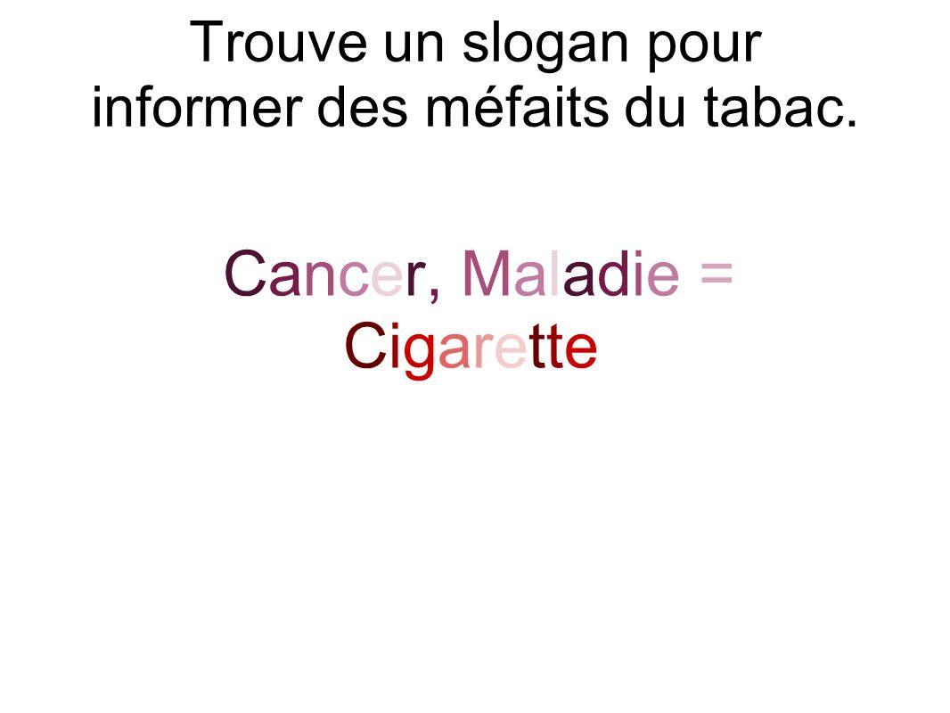 Trouve un slogan pour informer des méfaits du tabac. Cancer, Maladie = Cigarette