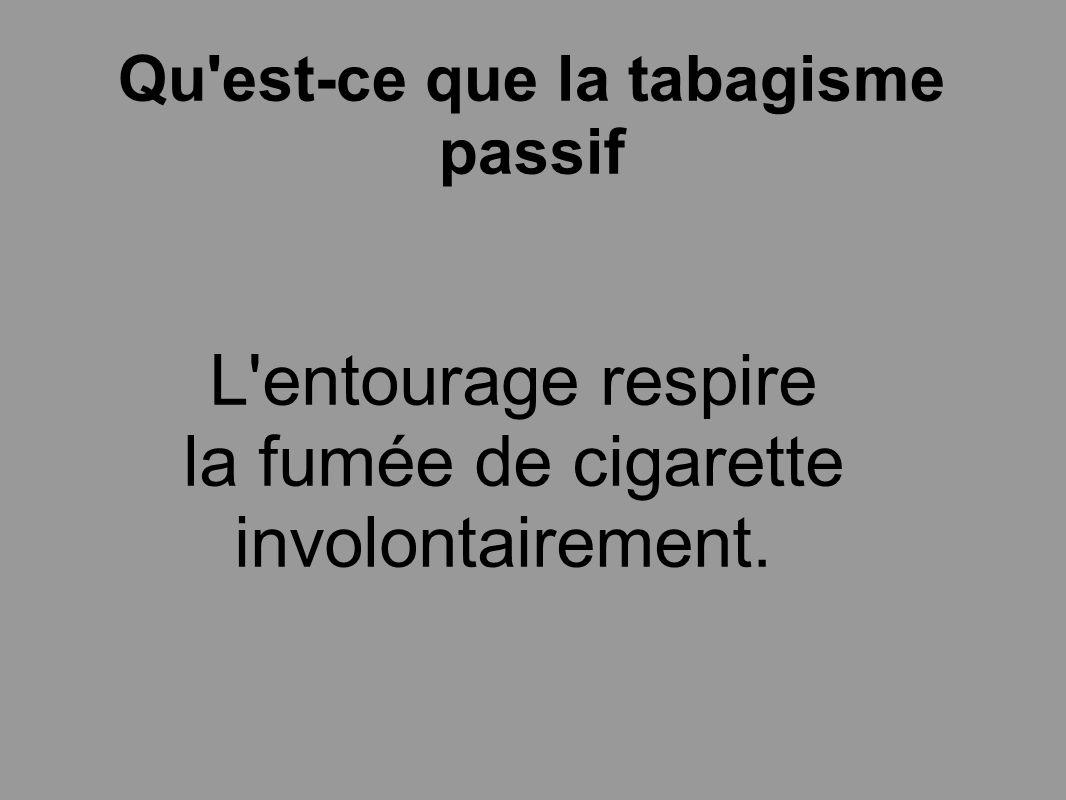 Qu'est-ce que la tabagisme passif L'entourage respire la fumée de cigarette involontairement.
