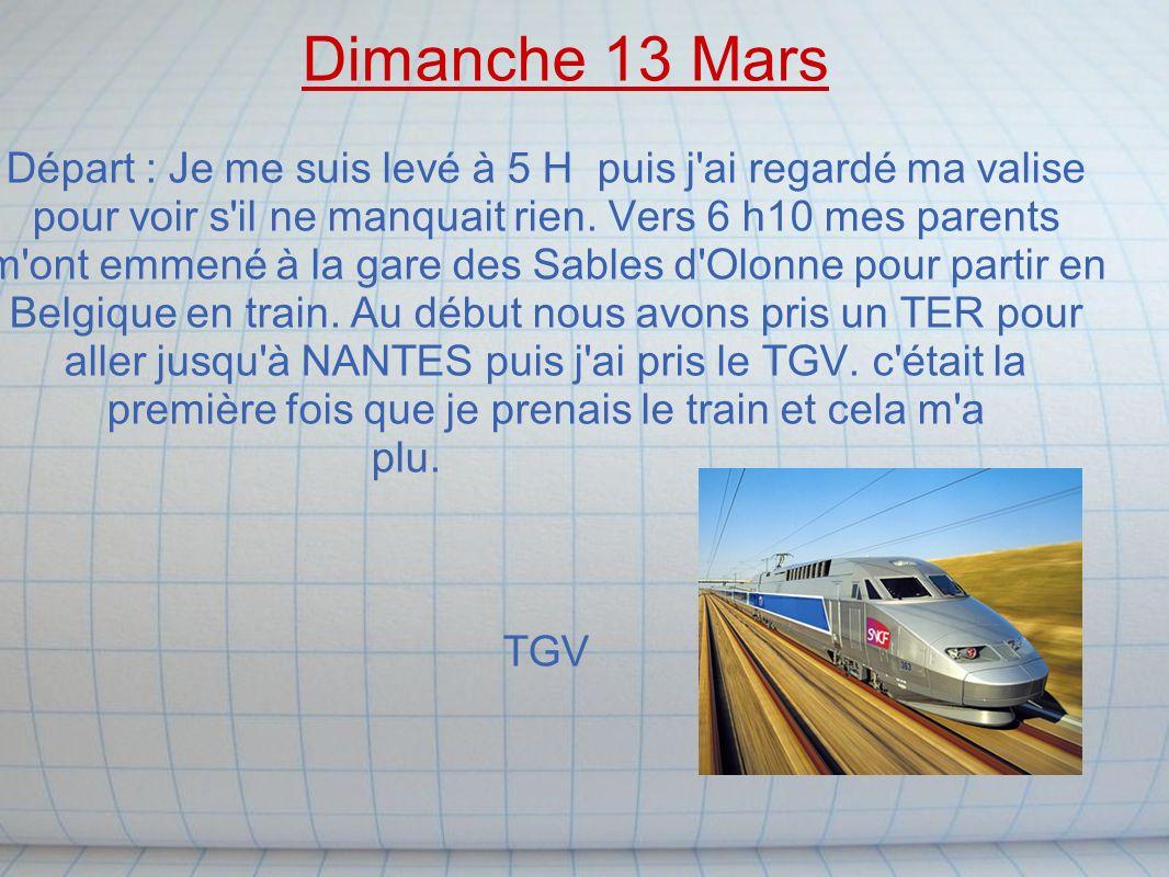 de NANTES à LILLE nous avons pris le TGV après nous sommes descendus du train pour aller dans un TER pour aller à TOURNAI.