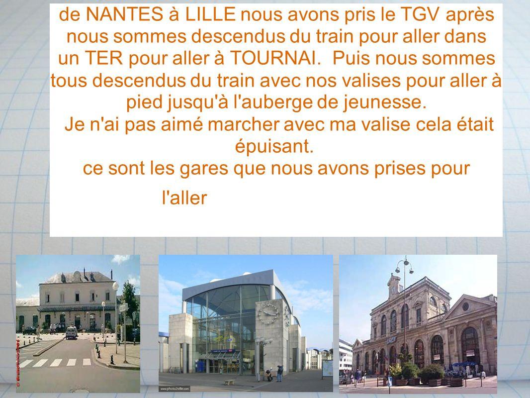 de NANTES à LILLE nous avons pris le TGV après nous sommes descendus du train pour aller dans un TER pour aller à TOURNAI. Puis nous sommes tous desce