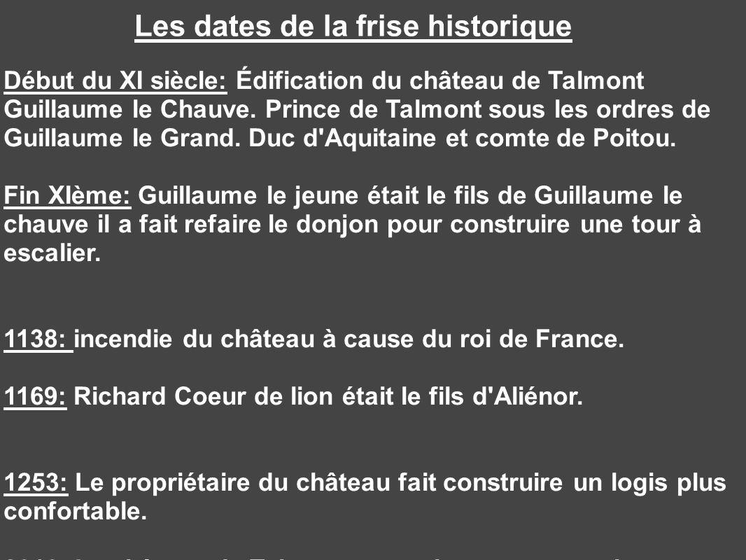 Les dates de la frise historique Début du XI siècle: Édification du château de Talmont Guillaume le Chauve. Prince de Talmont sous les ordres de Guill