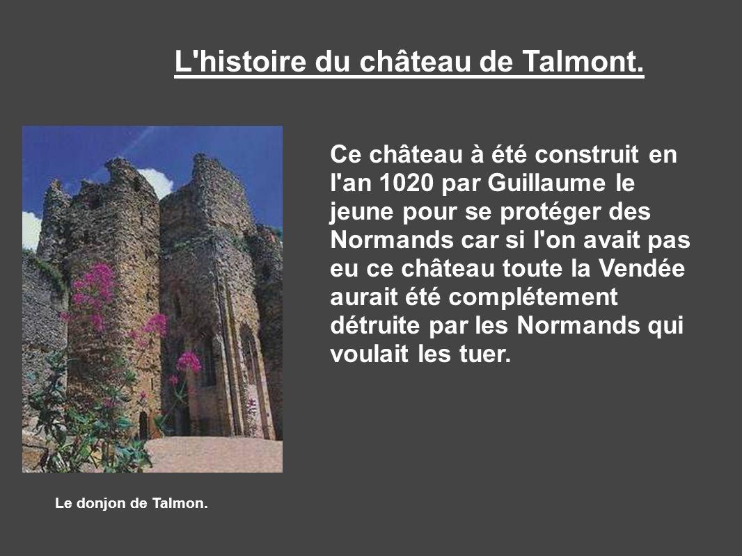 L'histoire du château de Talmont. Le donjon de Talmon. Ce château à été construit en l'an 1020 par Guillaume le jeune pour se protéger des Normands ca