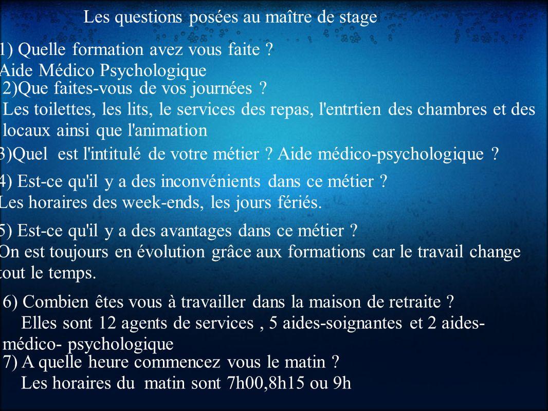 Les questions posées au maître de stage 1) Quelle formation avez vous faite .