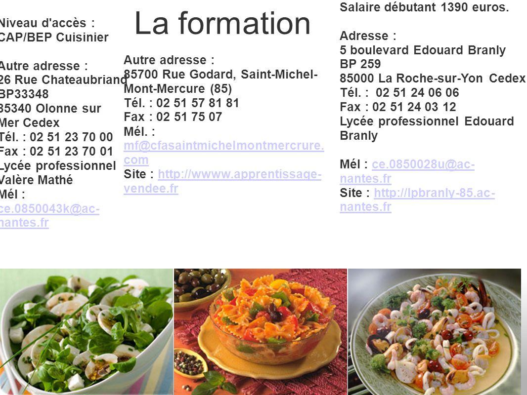 La formation Niveau d'accès : CAP/BEP Cuisinier Autre adresse : 26 Rue Chateaubriand BP33348 85340 Olonne sur Mer Cedex Tél. : 02 51 23 70 00 Fax : 02