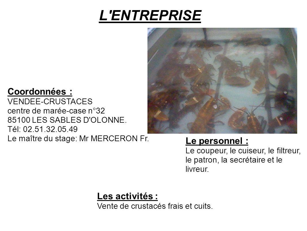 L'ENTREPRISE Coordonnées : VENDEE-CRUSTACES centre de marée-case n°32 85100 LES SABLES D'OLONNE. Tél: 02.51.32.05.49 Le maître du stage: Mr MERCERON F