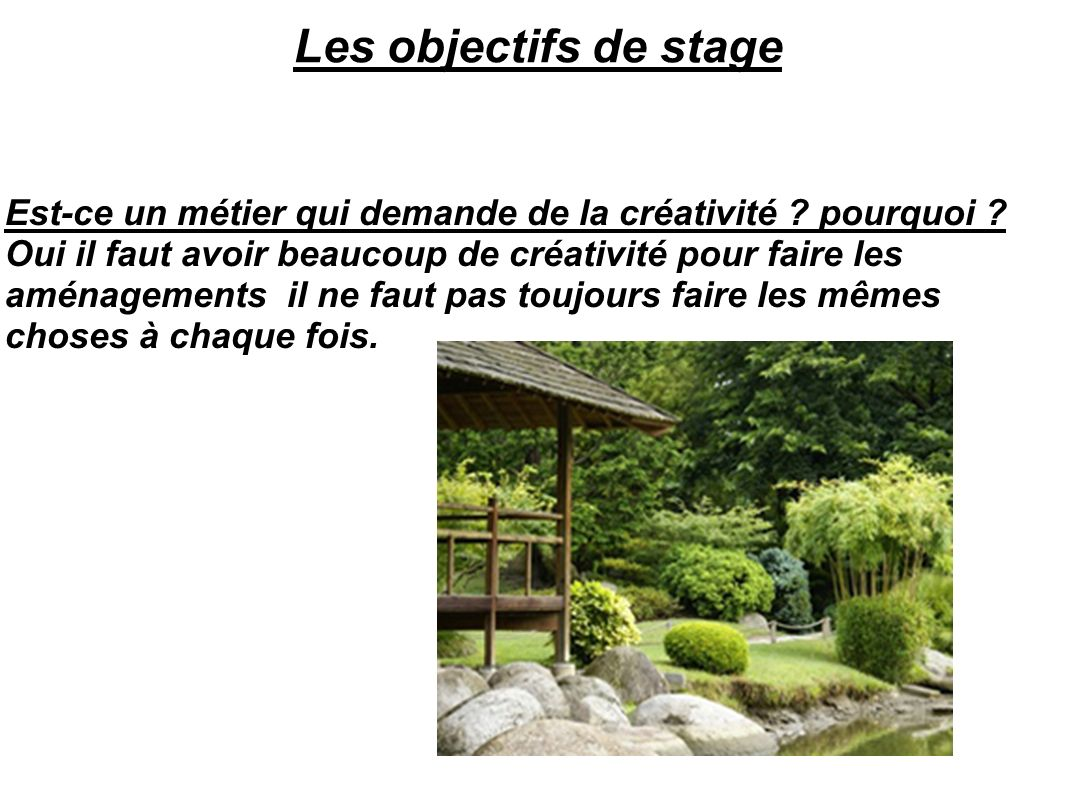 Les objectifs de stage Est-ce un métier qui demande de la créativité ? pourquoi ? Oui il faut avoir beaucoup de créativité pour faire les aménagements