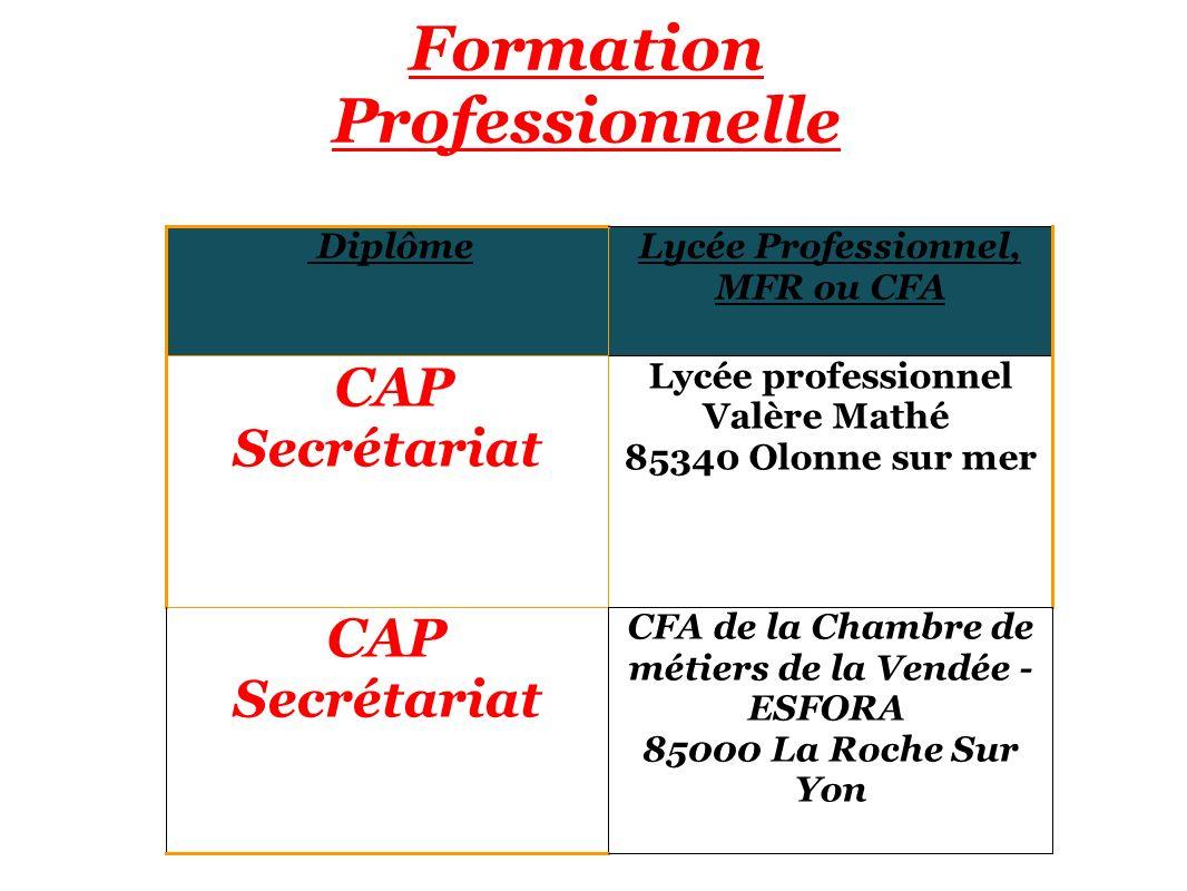Formation Professionnelle DiplômeLycée Professionnel, MFR ou CFA CAP Secrétariat Lycée professionnel Valère Mathé 85340 Olonne sur mer CAP Secrétariat CFA de la Chambre de métiers de la Vendée - ESFORA 85000 La Roche Sur Yon